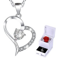 "MARENJA Crystal-Women's Necklace with Heart Pendant Engraved ""I Love You"" White Gold plated Crystal 15.7''+2''/40+5 cm Rose Box Packaging"