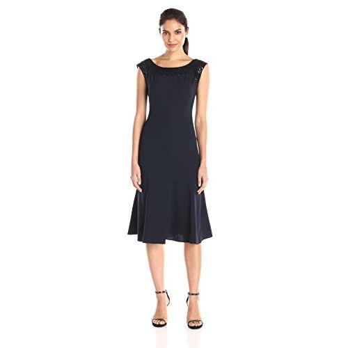 Maya Brooke Women's Sequin Trim Fit and Flare Dress, Navy, 10