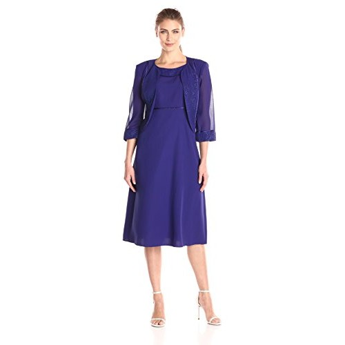 Maya Brooke Women's Shimmer Trim Jacket with Fit and Flare Dress, Cobalt, 8