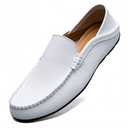 MCICI Mens Loafers Moccasin Driving Shoes Premium Genuine Leather Casual Slip On Flats Fashion Slipper Breathable Big Size,White,US10.5