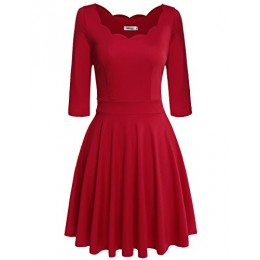 Meaneor Women Half Sleeve Casual Summer Empire Mini Dress Plus Size (Red,XXL)