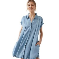 Blue Plus Size Casual Lacing Up Short Sleeve Button T Shirt Dresses