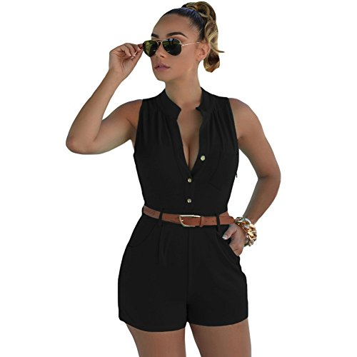 Women's Plus Size Casual Sexy V-Neck Sleeveless Shorts Pant Button Rompers Jumpsuit