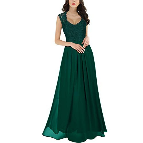 Miusol? Women's Casual Deep- V Neck Sleeveless Vintage Maxi Black Dress (Small, Green)
