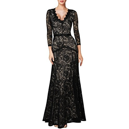 Miusol® Women's Floral Lace 2/3 Sleeves Long Bridesmaid Maxi Dress (Small, Black)