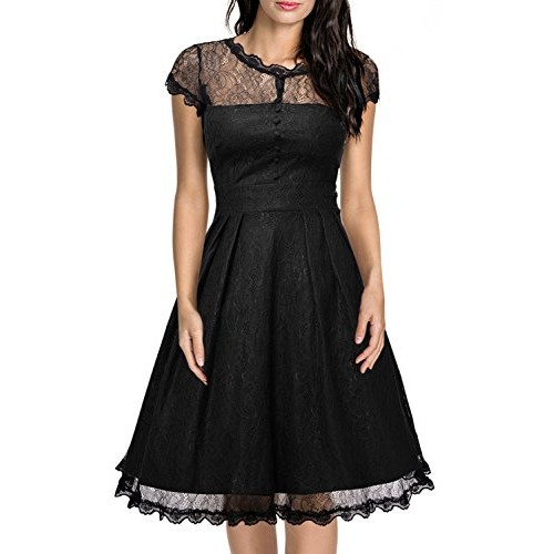 Miusol Women's Retro Floral Lace Cap Sleeve Vintage Swing Bridesmaid Dress