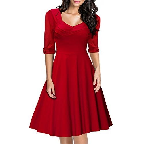Miusol Women's Retro V-Neck Short Sleeve Vintage Casual Swing Dress