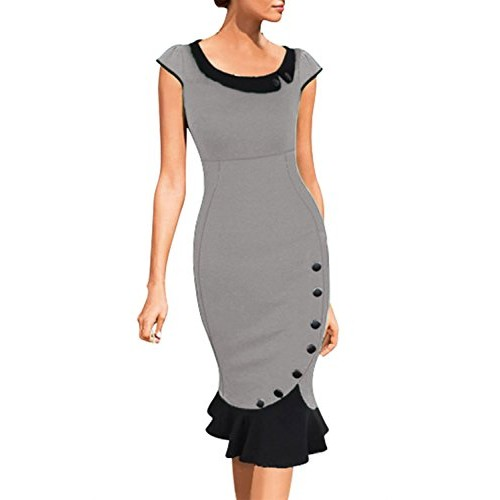 Miusol Women's Scoop Neck Contrast Vintage Bridesmaid Cocktail Dress (Small, Gray)