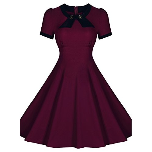 Miusol Women's Scoop Neck Elengant Bow Vintage Casual Evening Dress (3231) (Small, Dark Red)
