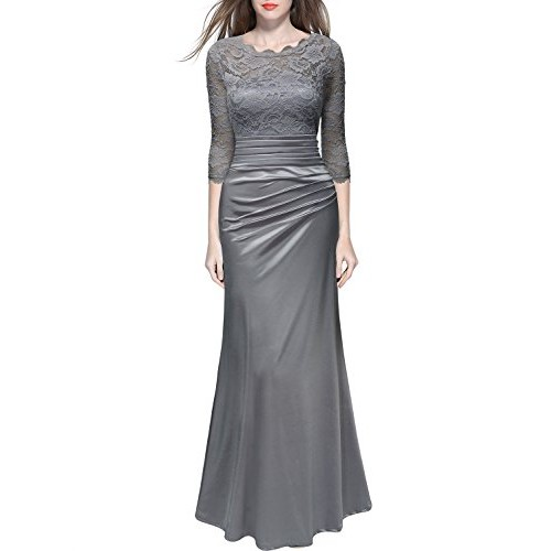 Miusol Women's Sheath Black Lace 3/4 Sleeves Pleated Wedding Gown Dress (Medium, Sliver Gray)