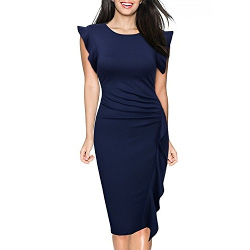 Miusol Women's Vintage Ruffles Cap Sleeve Business Cocktail Pleated Pencil Dress