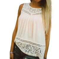 Morecome Casual Women Summer Lace Splice Vest Top Sleeveless Blouse Tank Tops (XL)