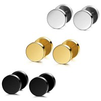 MOWOM Silver Gold Two Tone Black Stainless Steel Stud Earrings Tapers Plugs Tunnel Double Side (3 Pairs)