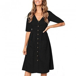 Womens V Neck Solid Half Sleeve Buttons Party Dress Muranba (Black, S)