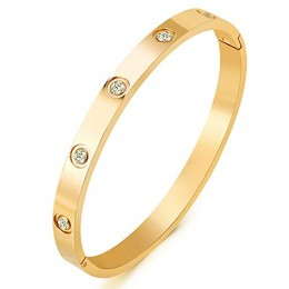 """MVCOLEDY Jewelry 18 K Gold Bangle Bracelet CZ Stone Hinged Stainless Steel with Crystal Bangle for Women Small Size 6.7"""""""