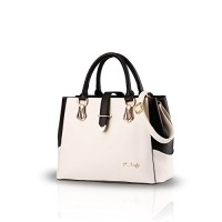 Nicole&Doris 2016 new black and white faishon style handbag casual shoulder bag cross-body work bag purse for ladies(White)