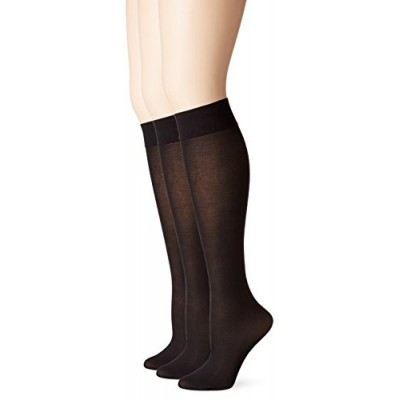 No Nonsense Women's Silky Trouser Sock 3-Pack, Black, 9-12