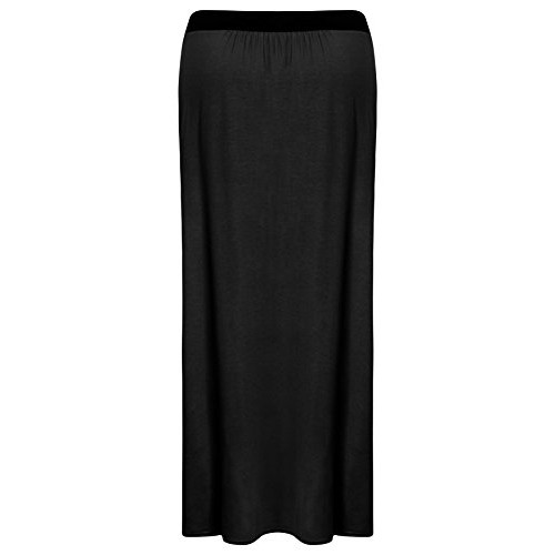 Womens Plus Size Long Plain Stretch Bodycon Gypsy Jersey Maxi Dress Ladies Skirt - BLACK - UK16/18 - (95% Viscose, 5% Elastane)