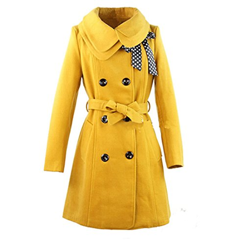 Double-Breasted Brooch Winter Coat,M,Yellow