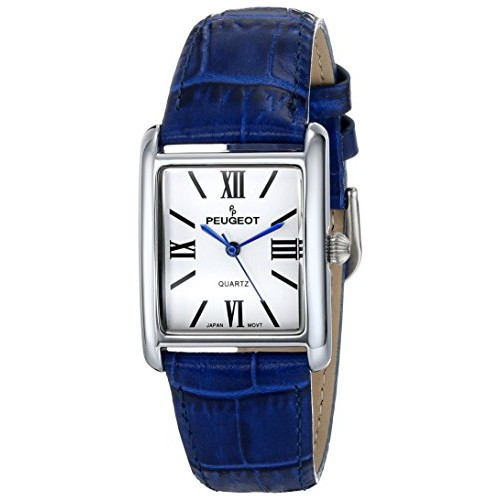 Peugeot Women's 3036BL Silver-Tone Watch with Blue Leather Band