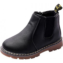 PPXID Boy's Girl's Baby's British Waterproof Plush Inside Snow Boots Casual Ankle Boots-Black 9 US Size