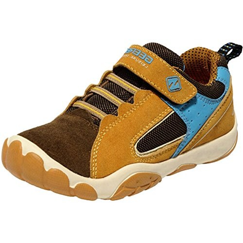 PPXID Boy's Girl's Mesh and Leather Trainers Running Sneakers Casual Sport Shoes-Brown 33 CN size