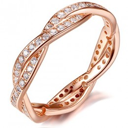 925 Sterling Silver Rose Gold-plated Engagement Wedding Rings with Cubic Zirconia By Presentski