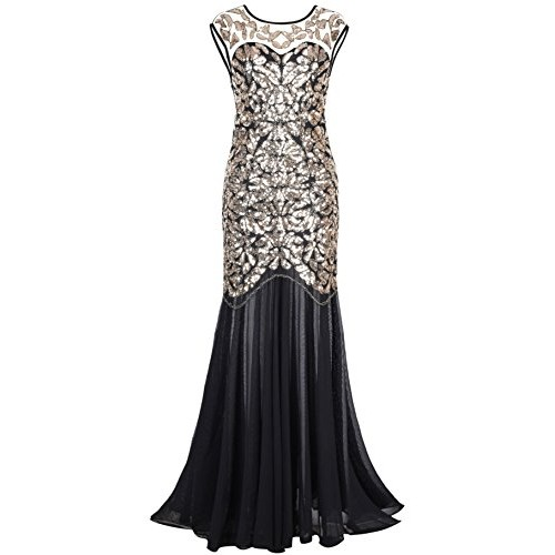 PrettyGuide Women 's 1920s Black Sequin Gatsby Floor Length Evening Prom Dress XL Gold