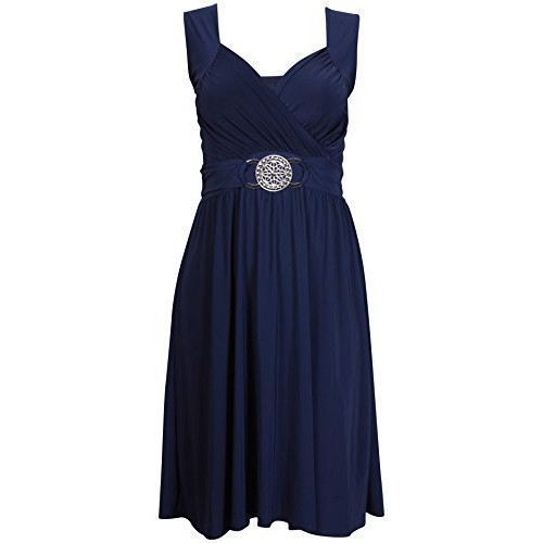 PurpleHanger Women's Sleeveless Cocktail Dress Plus Size Navy Blue 20-22