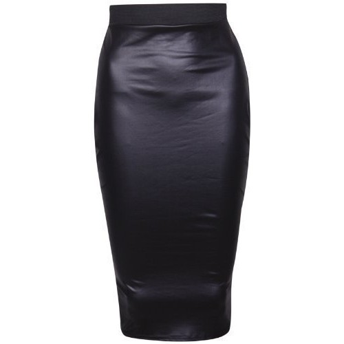 PurpleHanger Women's Wet Look Pencil Wiggle Midi Skirt Plus Size Black 12-14