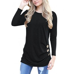 Q&Y Women's Casual Long Sleeve Loose Tunic Buttons Decor Tops Blouse T-Shirt Sweater Black S