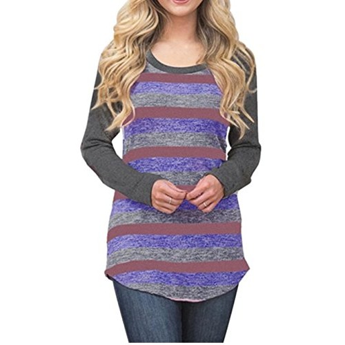 Q&Y Women's Casual Striped Color Block Long Sleeve Blouse Shirts Tunics Tops Dark Grey S