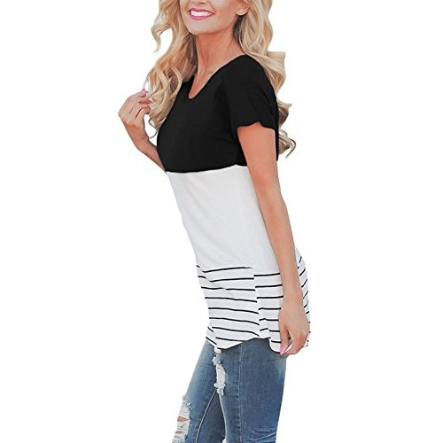 Q&Y Women's Color Block Striped Crewneck Short Sleeve Patchwork Blouse Tunic Tops T-Shirt Black S