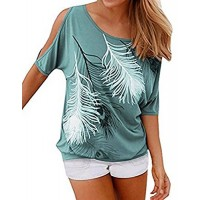 Q&Y Women's Feather Print Off Shoulder Cutout Sleeve Casual T-Shirt Top Blouse Green M