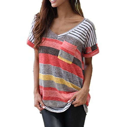 Q&Y Women's V-neck Striped Casual Short Sleeve T-shirt Blouse Tees Tops Red 4XL