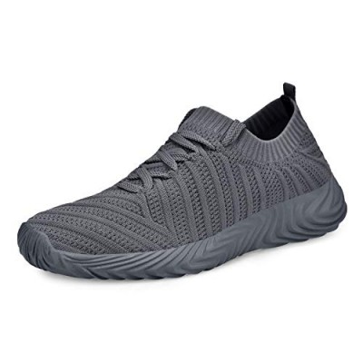 QANSI Mens Running Shoes Ultra Lightweight Breathable Slip On Sneaker Comfort Casual Shoes Dark Grey 11.5 M US