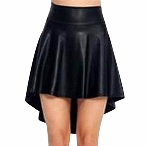 Qiyun Women's Full Pleated Imitation Leather Irregular Swallow-Tailed Hem Skirts Jupe