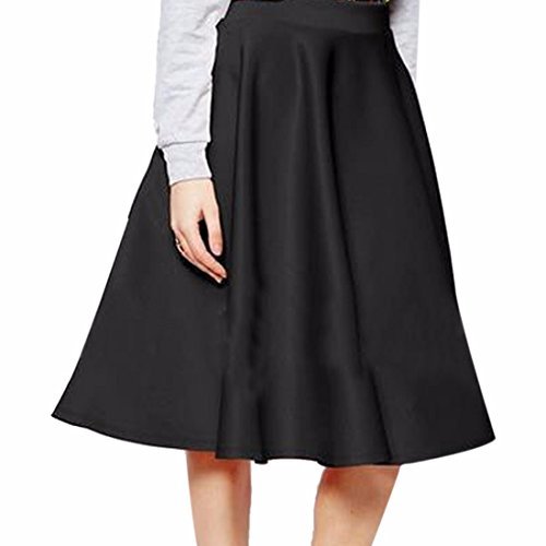 Solid Color Women OL High Waist Full Pleated Large Hem Fashion Midi Skirts Jupes
