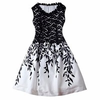 Women Sleeveless Crochet Lace Leaves Printed Fashion Party Gown Tunic Dresses