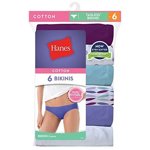 Hanes Women's No Ride Up Cotton Bikini 6-Pack, Assorted, Size-5