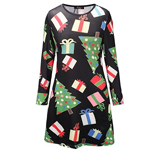 Ruiyige Women's Long Sleeves Plus Size Christmas Xmas Gifts Print Flared Swing Dress Top