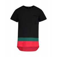 Saints and Soldiers Mens tee Shirt, with Striped Hem Detail, Made in Italy (Black, X-Large)