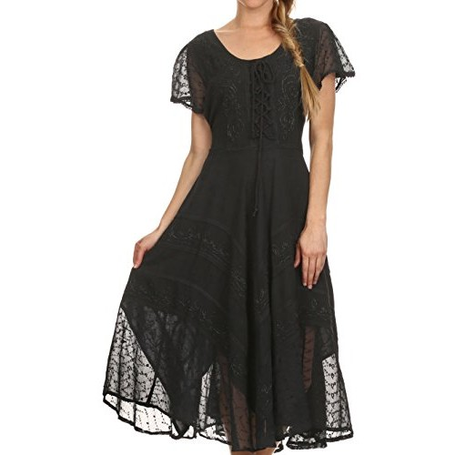 Sakkas 1322 Marigold Embroidered Fairy Dress - Black - S/M