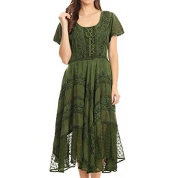 Sakkas 15323 - Mila Long Corset Embroidered Cap Sleeve Dress With Adjustable Waist - Green - S/M