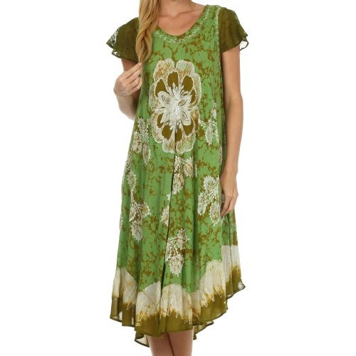 Sakkas 161 Aloha Floral Caftan Dress - Avocado/Olive - One Size
