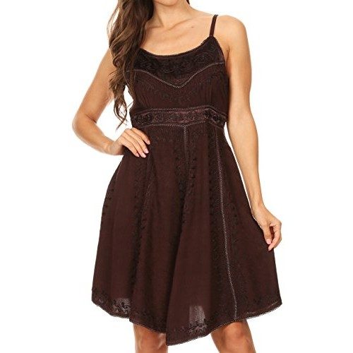 Sakkas 161117 - Markay Short Mid Length Spaghetti Strap Sleeveless Embroidered Batik Dress - Brown - S/M