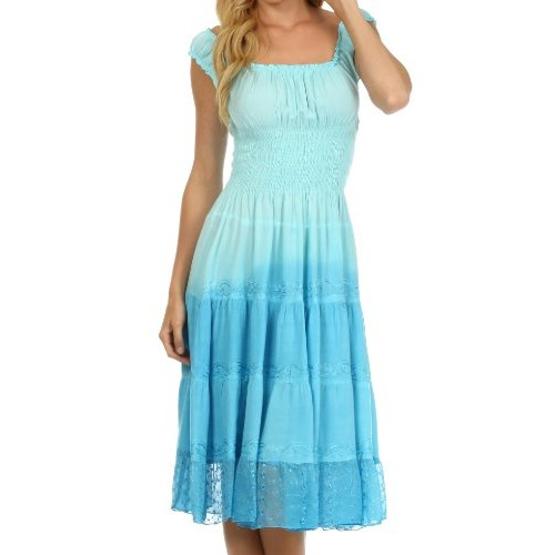 Sakkas 6741 Spring Maiden Ombre Peasant Dress - Baby Blue - One Size