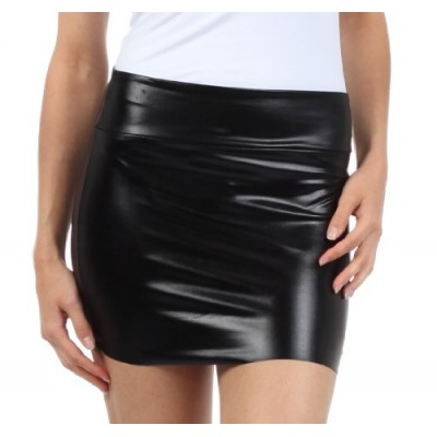Sakkas 6924 Women's Shiny Metallic Liquid Mini Skirt - Black - Medium