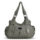 Scarleton 3 Front Zipper Washed Shoulder Bag H129224 - Ash