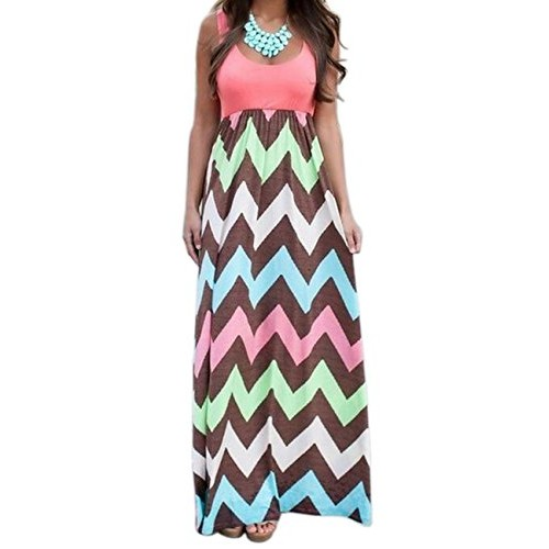 Shinekoo Women Long High Waist Boho Beach Dress Lady Casual Maxi Sundress